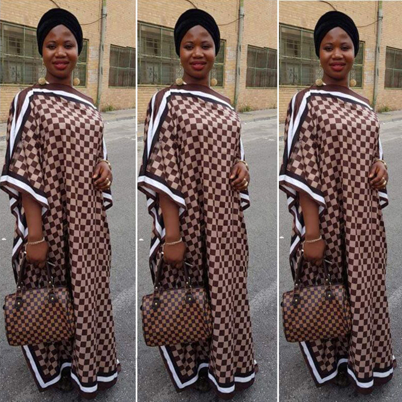 African Dashiki Dress Print Plaid Silk Bazin Design Elegant Maxi Robe Gowns Africa Traditional Hipster