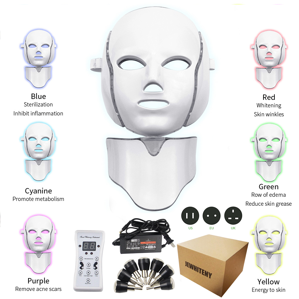 7 Colors Led Photon Electric LED Facial Mask With Neck Skin Rejuvenation Anti Wrinkle Acne Photon Therapy Skin Care Beauty Mask