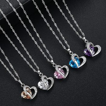 Luxury Ladies Necklace Hot Necklace 6 Colors Top Class Lady Fashion Heart Pendant Necklace Crystal Jewelry Girls Women Jewelry 2