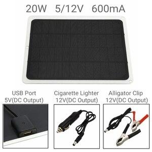 Image 3 - 20W 12V podwójne wyjście Panel słoneczny z ładowarką samochodową + 10/20/30/40/50A kontroler ładowarki słonecznej USB na zewnątrz Camping LED Light
