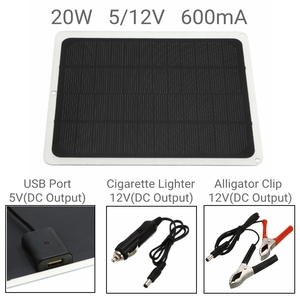 Image 3 - 20W 12V Đầu Ra Kép Tấm Pin Năng Lượng Mặt Trời Trên Ô Tô + 10/20/30/40/50A USB Bộ Điều Khiển Sạc Năng Lượng Mặt Trời Dành Cho Cắm Trại Ngoài Trời Đèn LED