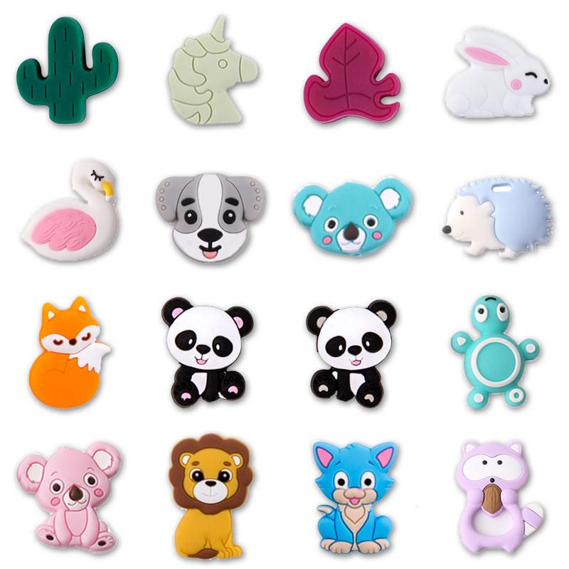 5pc/lot Baby Teething Toys Cartoon Mini Animal Panda Lion Silicone Teether Beads Kids Teething Toddler Toys DIY Teether Infants