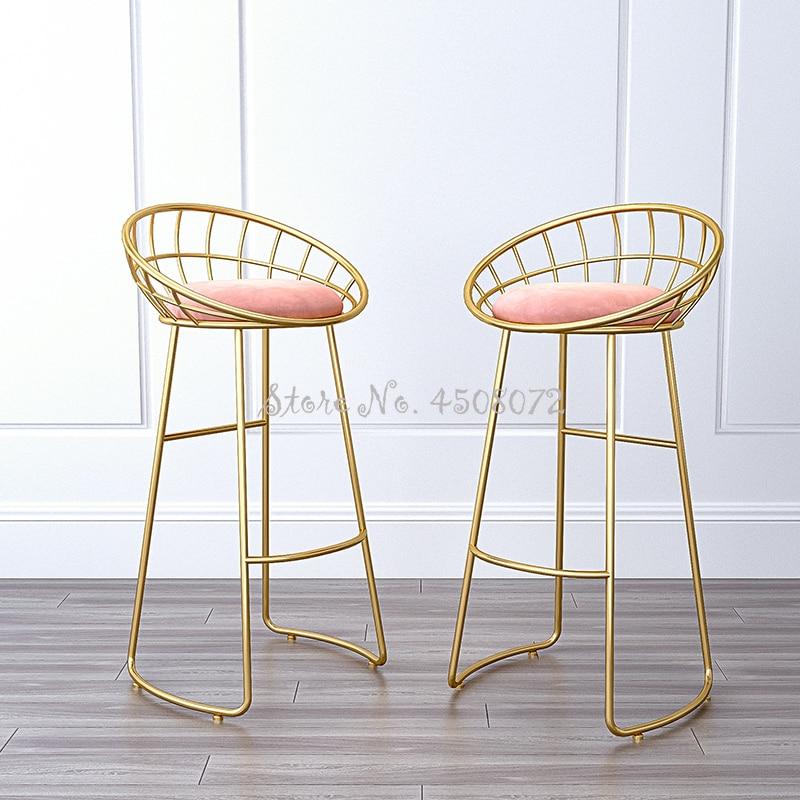 65cm Golden Creative Bar Chair  Home High Stool Cafe Bar Chair Backrest Wrought Iron Nordic Modern Bar Stool Pink Fannal Pad