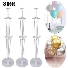 3pc 7 tubos balões suporte balão coluna confetes balão chuveiro do bebê crianças aniversário festa de casamento decoração suprimentos