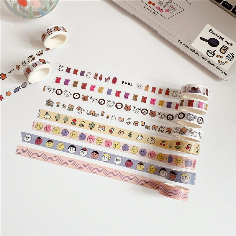 Ins Lovely Cartoon Bear Washi Tape Hand Account Sticker Masking Tape Sealing Sticker Simple Series Cute Japanese Stationery