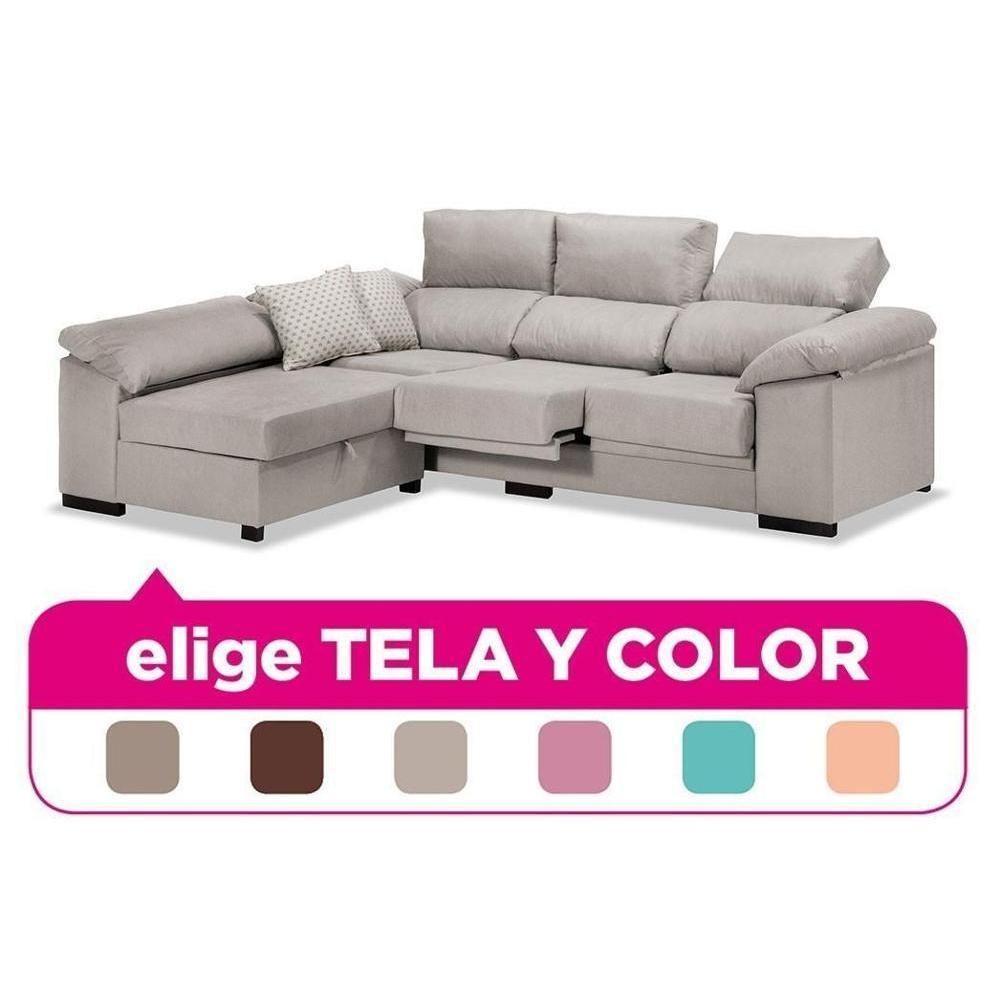Sofa Chaise Longue, 3/4 Seater, CLIMB A DOMICILE, Choose Fabric And Color Ref-75