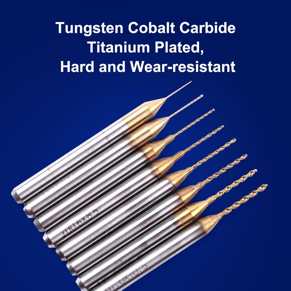 CNC Soft Metals Atoplee 8 pcs Mixed Tungsten Carbide Twist Drill Bits Jewelry Sizes 0.3mm to 1mm 1//8 Shank For PCB