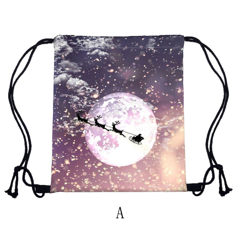 Fashion Christmas Women Backpack Drawstring Shopping Bags Travel Party Decoration