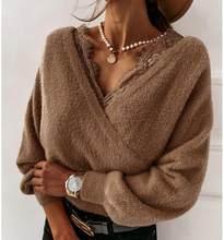Suéter de franela de retales para mujer, Jersey Sexy de cintura alta con cuello en V, suéteres cómodos de invierno para Club nocturno 2020