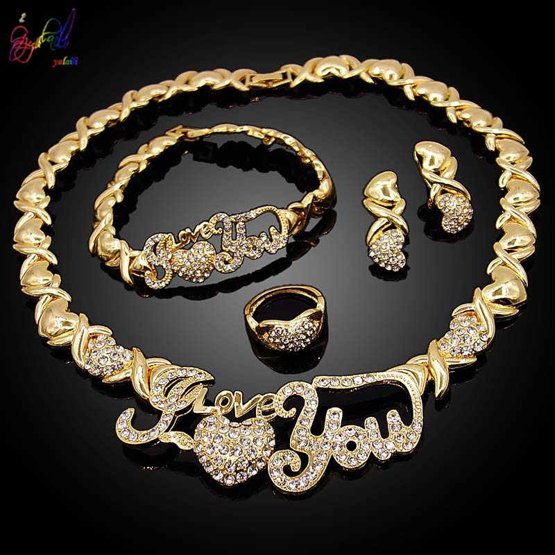 Yulaili Hugs and Kisses Necklace Heart Gold Color Crystal Party Engagement Anniversary Wedding Jewelry Sets Gifts For Women