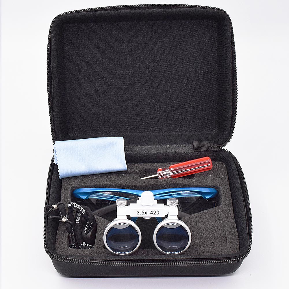 Haute qualité 3.5X420mm Portable dentiste chirurgical médical binoculaire Loupe dentaire verre optique pour les examens dentaires