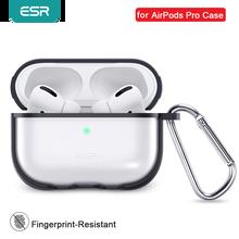 Esrリンゴのケースとキーホルダーフックアップ保護透明appleイヤフォンfunda高級黒