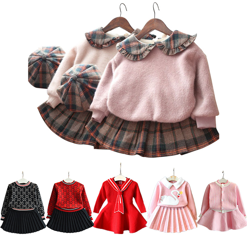 baby girls clothes Europe and America Korean winter clothing 1-5 year female baby plus velvet sweater pleated skirt fashion 3pcs