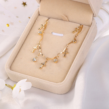 Crystal Zircon Stone Silver Chain Necklace Elegant Fashion Cross Pendant For Women Wedding Party Gift Jewelry