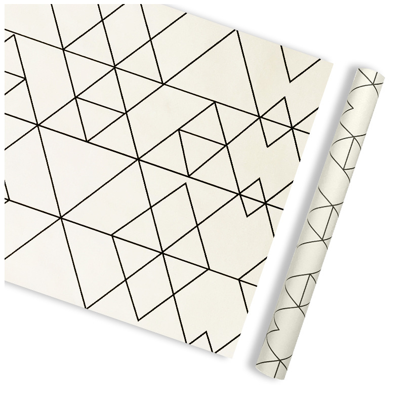 Dormitory Living Room Bedside Decoration Triangular Geometry Wallpaper Bedroom Waterproof PVC Self Adhesive Wallpaper Plain Colo