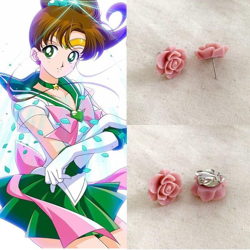 Makoto Stud Earrings Anime Jupiter Rose Flower Earrings Ear Clip Jewelry Cosplay Gifts
