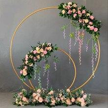 Металлическая свадебная АРКА рамка Mariage Круг Круглый Фон Стенд фон однополюсный открытый газон цветок дверь полка