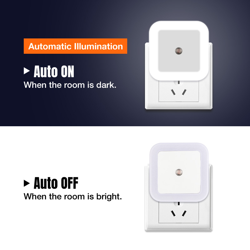 Nersury Light Sensor LED Night light Square Lamp Children 110V 220V Bedroom Mini Smart Night Light Kid LED Sensor Night Lamp 4
