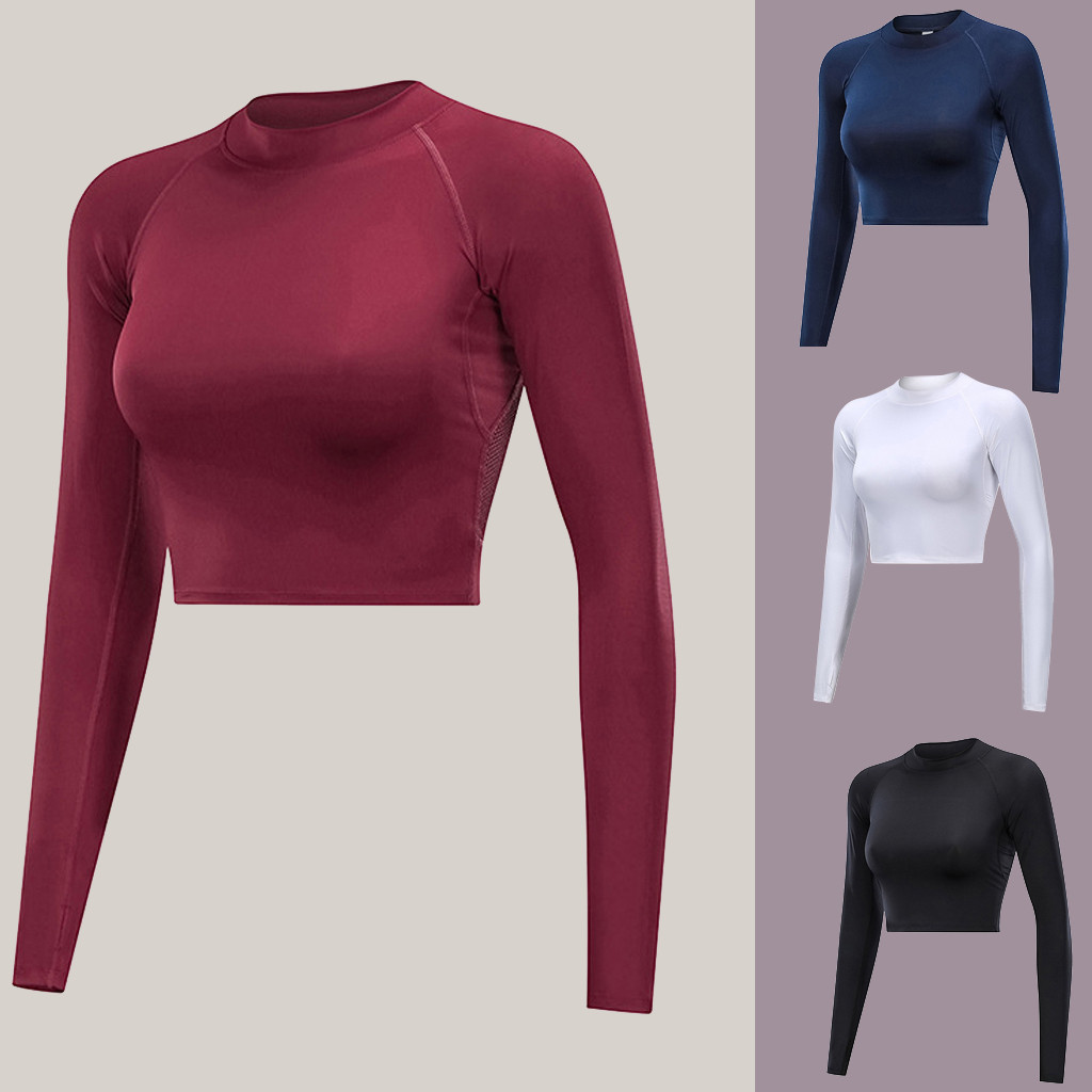 Mesh Backless Crop Top Yoga Top Sport Bras Long Sleeve Fitness Shirt Women Quick Dry Breathable Playera Mujer Gym Shark Top #C8
