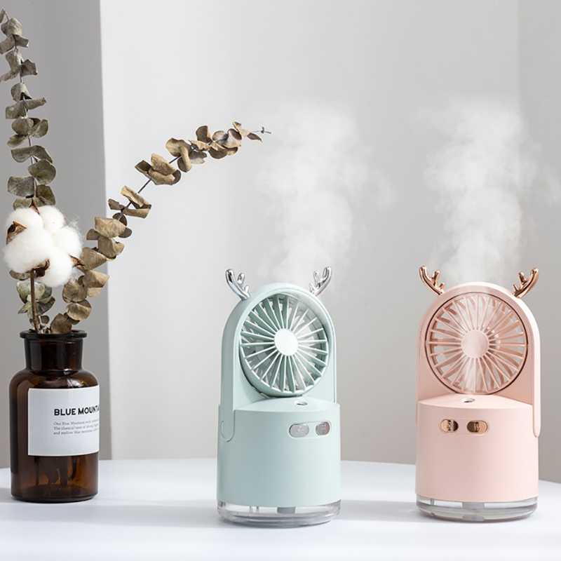 Portable Desktop Air Humidifiers Air Cooler Fan For Home Household Humidifier Fan Colorful Night Light Mini Fan USB Rechargeable