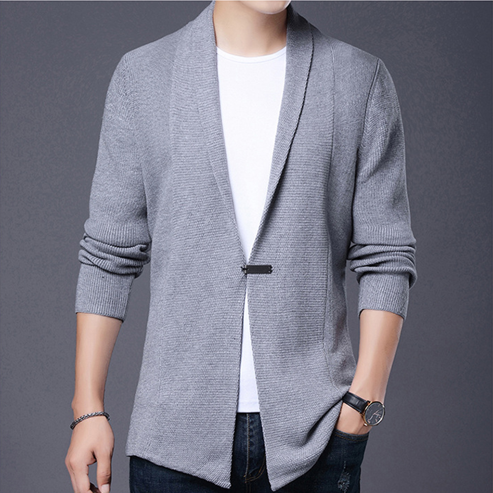 Men Long Style Cardigan Solid Color Coat Mens Autumn X-long Knitted Sweaters Jackets Spring Casual Sweater Coat Size 4XL MWK018