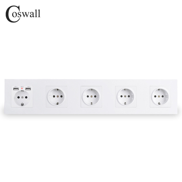 COSWALL Brand 5 Gang Wall EU Socket Grounded + Dual USB Charging Port With Hidden Soft LED Indicator Black White Gold PC Panel