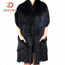 Scarves Pashmina Fur Shawls Rabbit-Fur Winter Women Zdfurs--Luxury Wraps Tassels Real-Knitted