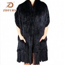 Zdfurs * Luxe Vrouwen Echte Echte Gebreide Rabbit Fur Sjaals Met Kwastjes Lady Pashmina Wraps Herfst Winter Vrouwen Bont sjaals