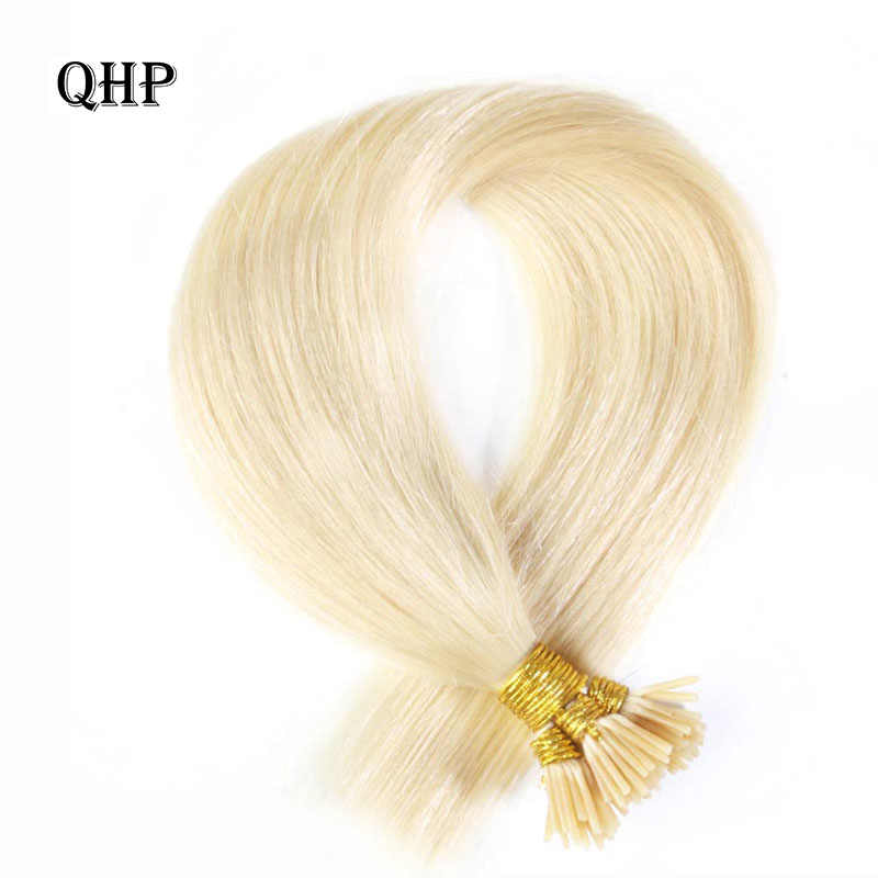 "QHP Hair 16"" 18"" 20"" Straight Machine Made Remy Hair Extensions 50pcs/ Set Straight Keratin I Tip Human Hair"
