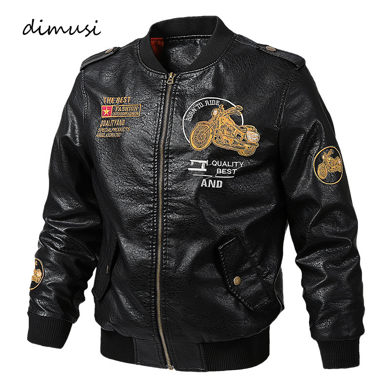 DIMUSI Mens PU Leather Jacket Winter Male Biker Faux Leather Coats Casual Men Slim Windbreaker Motorcycle Jackets Clothing 6XL