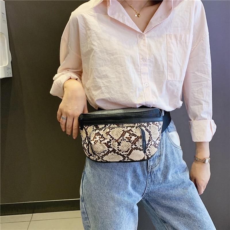 Serpentine Fashion Women's Waist Packs Brief Chest Bag Zipper Belt Bag For Women Ladies Fanny Bags Travel Bum Bags