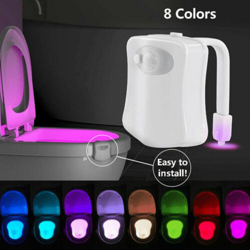 Bowl Bathroom Toilet Night LED 8 Color Lamp Sensor Lights Motion Activated Light Seat Sensor Night Lamp