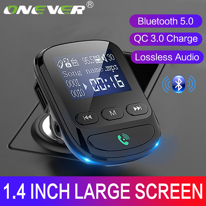 Onever Car Bluetooth 5.0 Adapter Wireless FM Transmitter Handsfree Car Kit AUX Bluetooth Receiver Support TF/U Disk Manos Libres