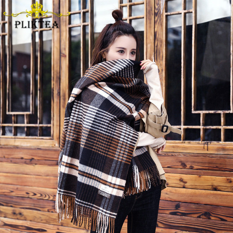 High Quality Thick Coffee Plaid Scarves For Women Design Plaid Shawl Winter Ladies Wrap Coffee Faux Cashmere Female Tippet Scarf