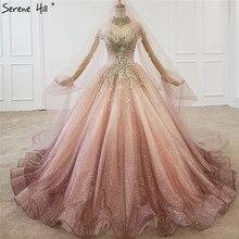 徐変ピンク高級ハイエンドのウェディングドレス 2020 ダイヤモンドビーズセクシーなブライダルガウン HX0074 カスタムメイド