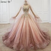 Geleidelijke Verandering Roze Luxe High End Trouwjurken 2020 Diamant Kralen Sexy Bruidsjurken HX0074 Custom Made