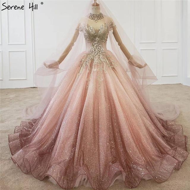 Gradual Change Pink Luxury High end Wedding Dresses 2020 Diamond Beading Sexy Bridal Gowns HX0074 Custom Made