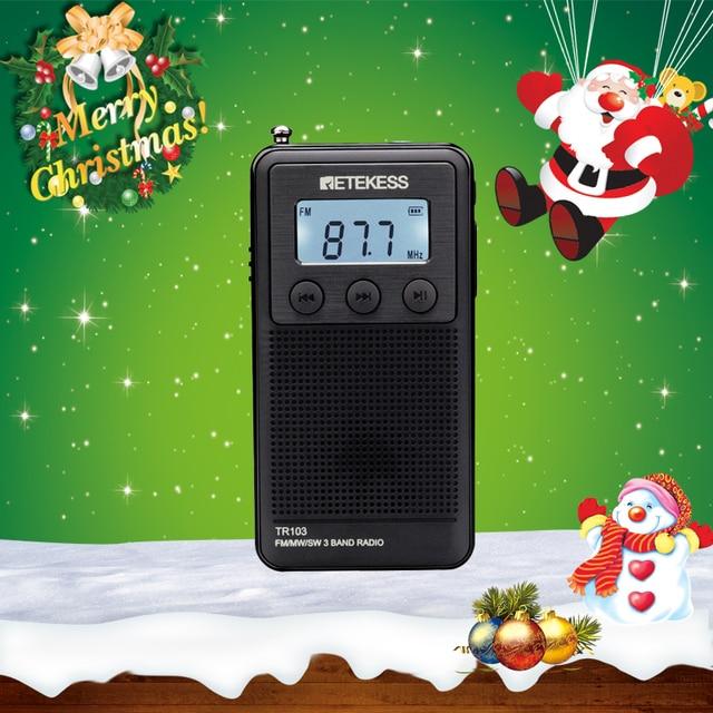 Retekess TR103 Pocket Portable Mini Radio FM / MW / SW Digital Tuning Radio 9/10Khz MP3 Music Player with Rechargeable Battery