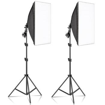 50x70cm 사진 소프트 박스 조명 키트 사진 스튜디오 용 전문 연속 조명 시스템 장비