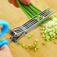 Cuchillos multifuncionales de acero inoxidable de múltiples capas, tijeras de cocina, cortador de cebollín, herbal Laver, especias, herramienta de cocina para cortar