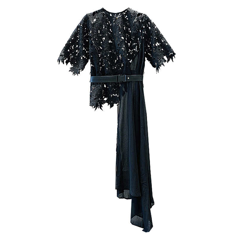 Dames Lente Zomer Nieuwe Fairy Hollow Out Lace Panel Onregelmatige Chiffon Blouse Vrouwen Holiday Beach Tops Lange Shirt Ropa mujer