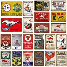 모터 오일 및 가솔린 금속 징후 오토바이 자동차 트럭 타이어 차고 장식 벽 상패 아트 포스터 펍 바 클럽 저장소 틴 플레이트
