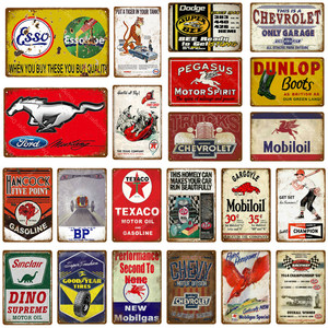 Image 1 - Motor Oil And Gasoline Metal Signs Motorcycles Car Trucks Tires Garage Decor Wall Plaque Art Poster Pub Bar Club Store Tin Plate