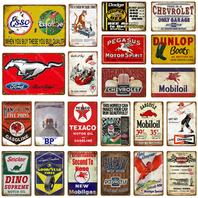 Motor Oil And Gasoline Metal Signs Motorcycles Car Trucks Tires Garage Decor Wall Plaque Art Poster Pub Bar Club Store Tin Plate