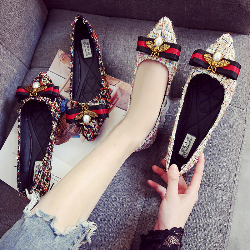 32-44 Plus Size Tweed Flat Shoes Women Rhinestone Bee Pointed Toe Flats Breathable Ladies Shoe Loafers Luxury Women Shoes P246