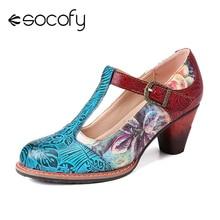 Sapato feminino de couro legítimo socofy, sapato cromático com folhas em relevo com flores, salto médio 2020