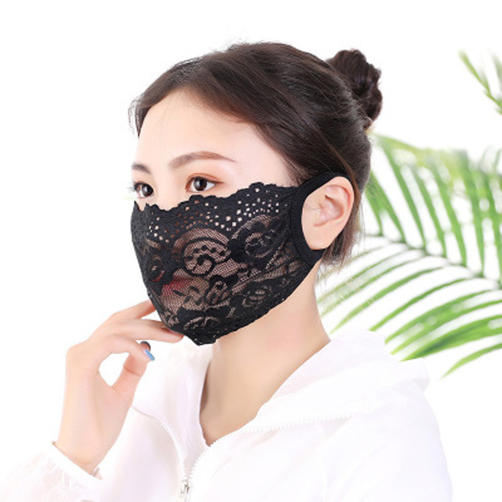 Lace Face Mask For Women Protective PM2.5 Dust Mouth Mask Washable Reusable Fashion Face Shield Cover Face Masks Respirator 1PC