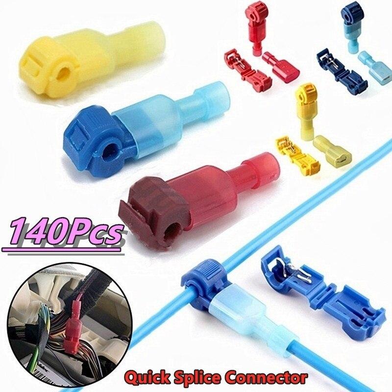 140Pcs Quick Electrical Cable Connectors Snap Splice Lock Wire Terminals Crimp Quick Connect Terminal End T-shape Wiring Clip