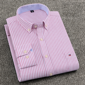 Camisa para hombre, 100% de algodón de talla grande 6XL 7XL 8XL para hombres grandes 125kg, moda informal a rayas Rosa talla asiática SCC215