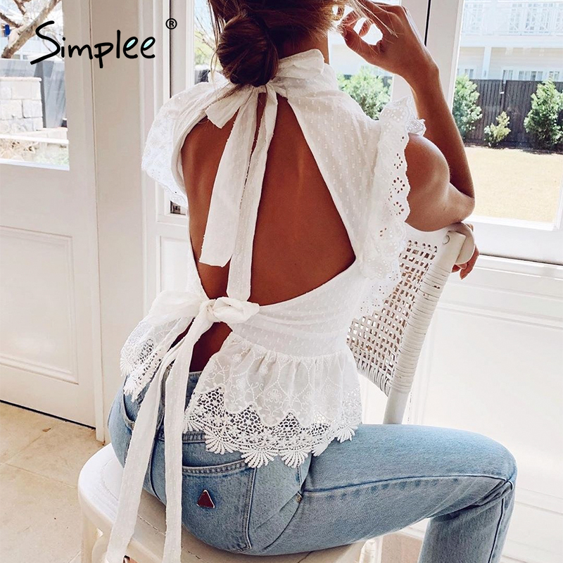 Simplee Backless lace embroidery women tank tops Ruffled hollow out peplum tops female summer style Streetwear ladies white tops(China)